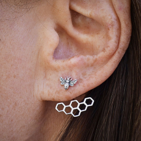 Sterling Silver Honey Bee and Honeycomb Ear Jacket 22x17mm