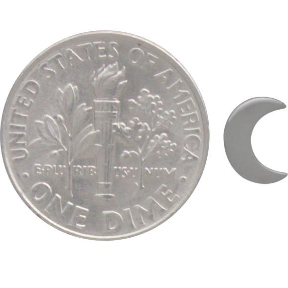 Sterling Silver Crescent Moon Post Earrings 7x5mm