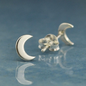 Sterling Silver Crescent Moon Post Earrings