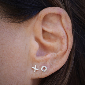 Sterling Silver XO Post Earrings - Hugs and Kisses 5x5mm