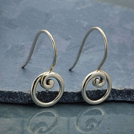 Sterling Silver Earring Hook with Circle and Swirl