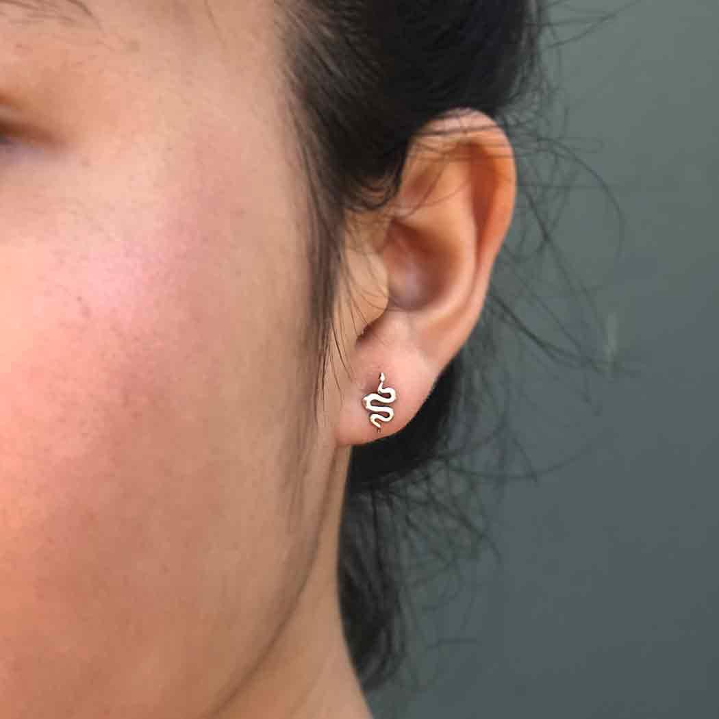 Sterling Silver Snake Post Earrings