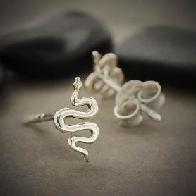 Sterling Silver Snake Post Earrings 9x5mm