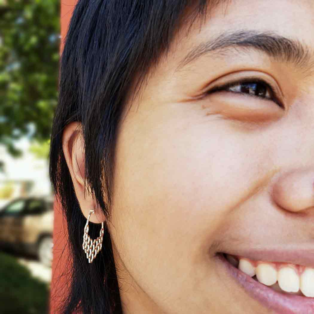 Sterling Silver Honeycomb Hoop Earrings 29x30mm