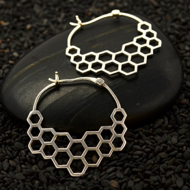 Sterling Silver Honeycomb Hoop Earrings