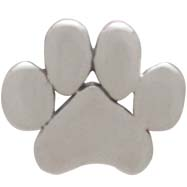 Sterling Silver Paw Print Post Earrings 6x7mm