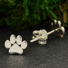Sterling Silver Paw Print Post Earrings 6x7mm