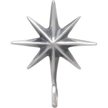 Sterling Silver Ridged Star Burst Earrings with Bottom Loop