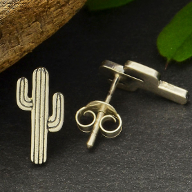 Sterling Silver Cactus Post Earrings 12x6mm