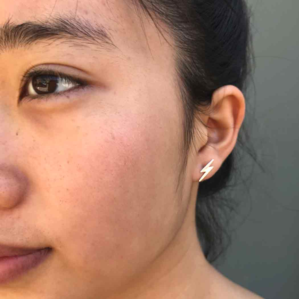 Sterling Silver Lightning Bolt Post Earrings