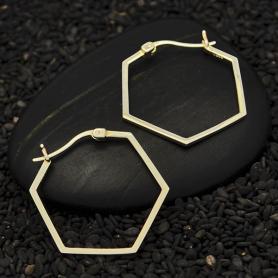 Sterling Silver Hexagon Hoop Earrings 28x25mm