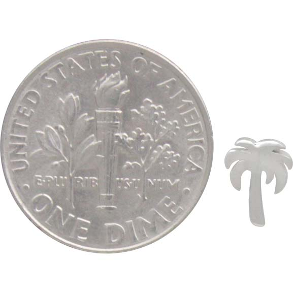 Sterling Silver Palm Tree Stud Earrings 7x5mm