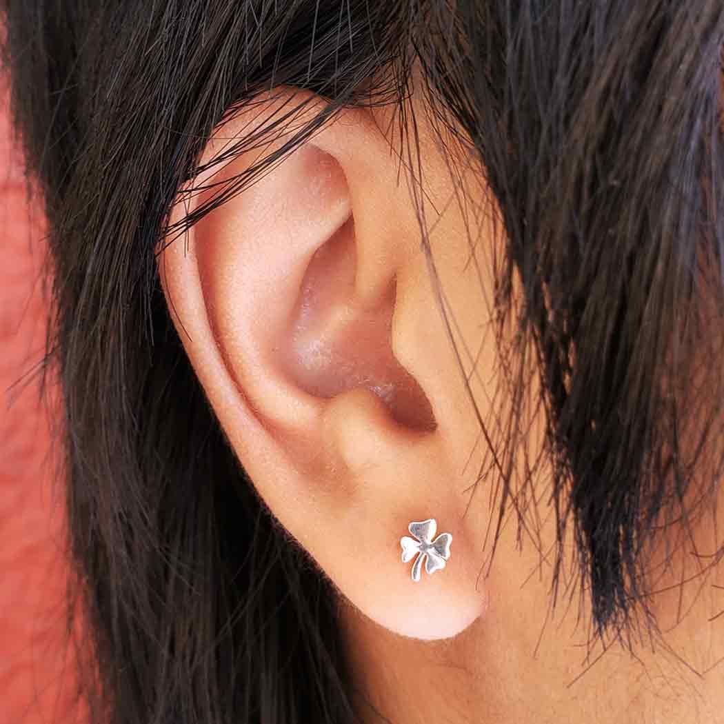 Sterling Silver Four Leaf Clover Post Earrings