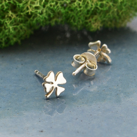 Sterling Silver Four Leaf Clover Post Earrings
