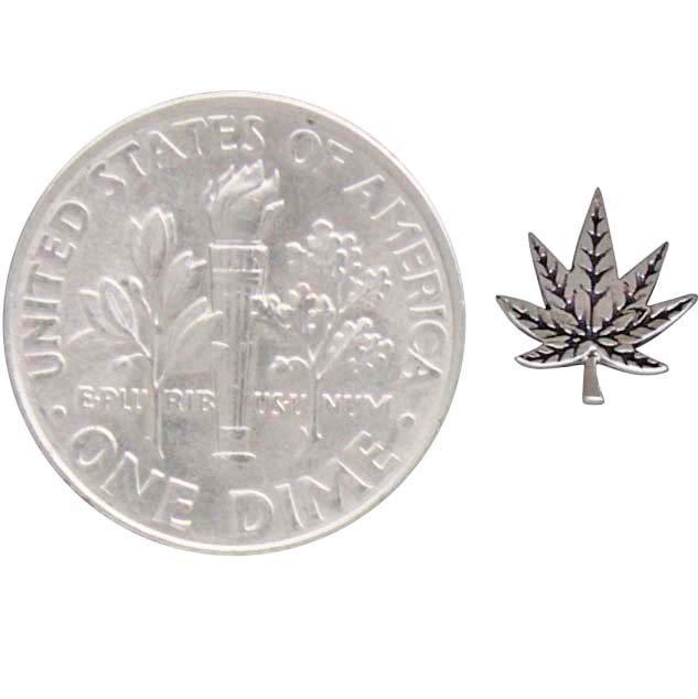 Sterling Silver Pot Leaf Post Earrings 7x7mm
