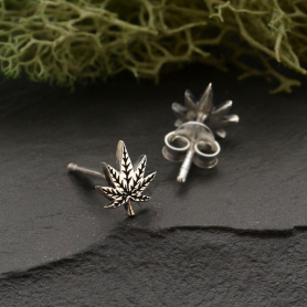 Sterling Silver Pot Leaf Post Earrings