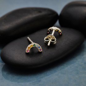 Sterling Silver Rainbow Post Earrings with Nano Gems 4x8mm