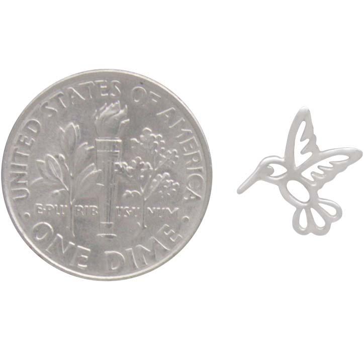 Sterling Silver Hummingbird Post Earrings 10x10mm