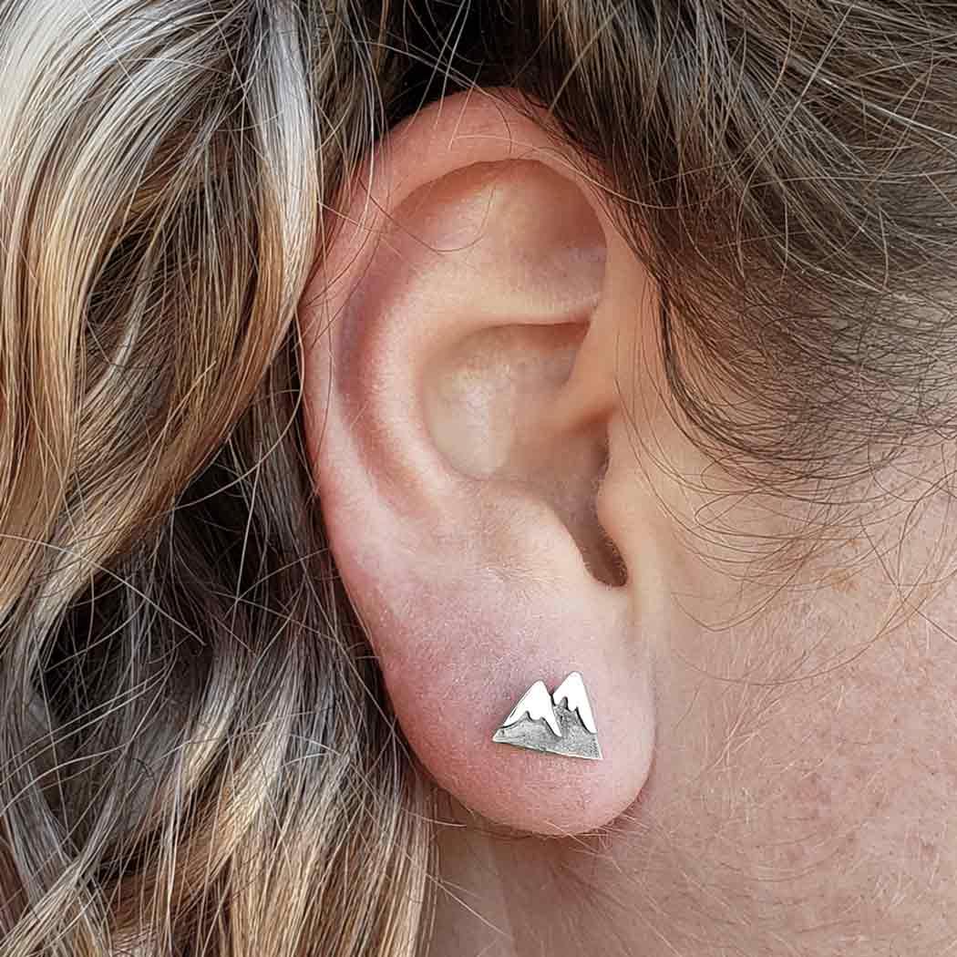 Sterling Silver Snow Cap Mountain Post Earrings 7x11mm