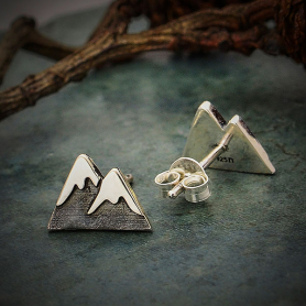 Sterling Silver Snow Cap Mountain Post Earrings 7x11mm