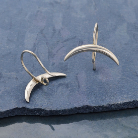 Sterling Silver Ear Hooks with Ridged Crescent Moon 17x19mm