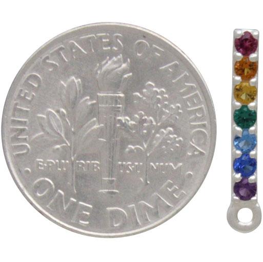Sterling Silver Rainbow Bar Post Earrings with Loop 16x2mm