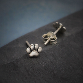 Sterling Silver Tiny Puffed Paw Post Earrings 5x6mm