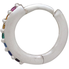 Silver Rainbow Huggie Hoop Earrings with Nano Gems 12x12mm