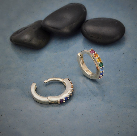 Silver Rainbow Huggie Hoop Earrings with Nano Gems 12x12mm