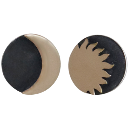 Sterling Silver Post Earrings with Bronze Sun and Moon 8x8mm