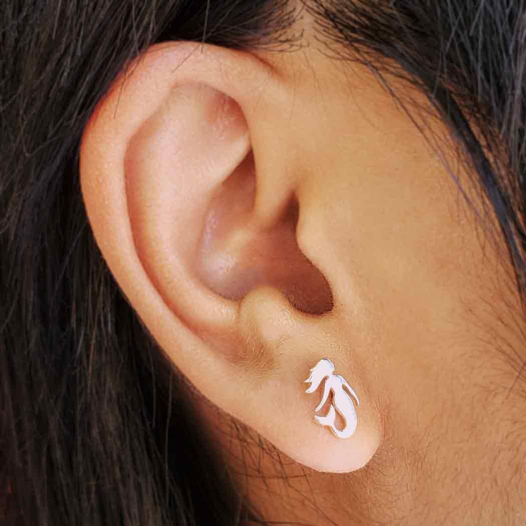 Sterling Silver Mermaid Post Earrings 10x6mm