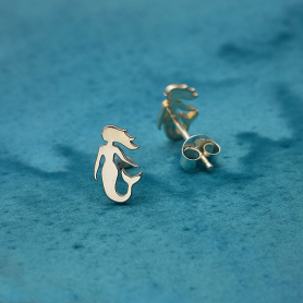 Sterling Silver Mermaid Post Earrings 10x6mm