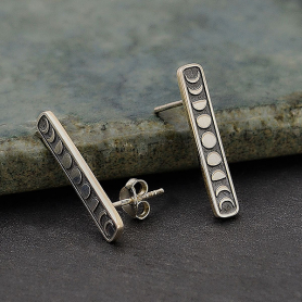 Sterling Silver Vertical Moon Phase Post Earrings 23x4mm