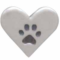 Sterling Silver Heart Post Earrings with Paw Print 7x8mm