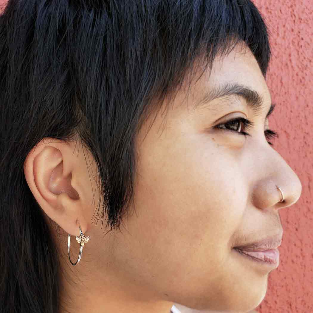 Sterling Silver Hoop Earring with Bronze Bee 30x27mm