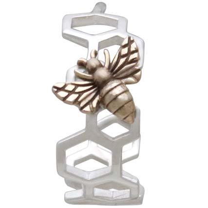 Silver Honeycomb Hoop Huggie Earring with Bronze Bee 17x15mm
