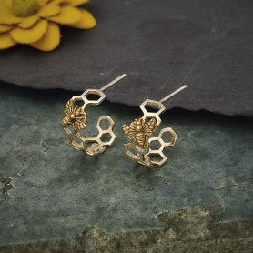 Silver Honeycomb Hoop Huggie Earring with Bronze Bee 17x15mm
