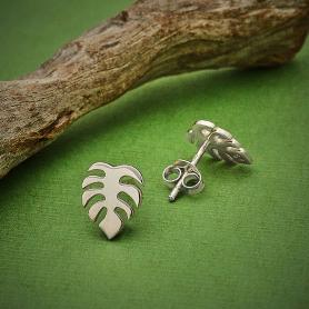 Sterling Silver Monstera Stud Earrings 10x8mm