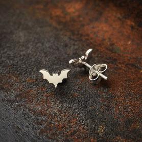 Sterling Silver Flat Tiny Bat Post Earrings 5x8mm