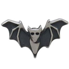 Sterling Silver Detailed Bat Post Earrings 6x10mm