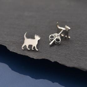 Sterling Silver Curious Kitten Post Earrings 8x9mm