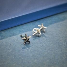 Sterling Silver Ridged Star Post Earring 7x7mm