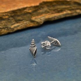 Sterling Silver Seashell Post Earrings 10x4mm