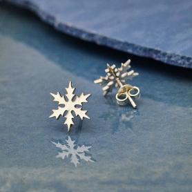 Sterling Silver Snowflake Post Earrings 11mm