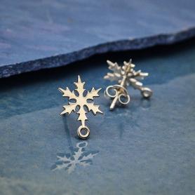 Sterling Silver Snowflake Post Earrings with Loop 14x11mm