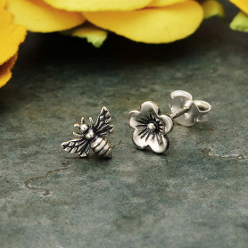 Sterling Silver Post Earrings Cherry Blossom and Bee 7x7mm