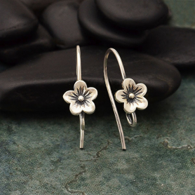 Sterling Silver Cherry Blossom Earring Hook with Loop 7x20mm