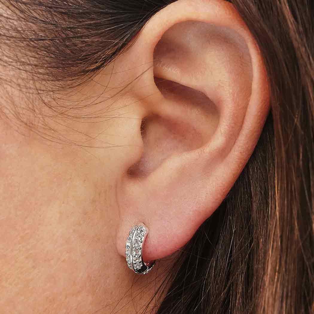 Sterling Silver Hoop Huggie Earrings with Nano Gems 12x12mm