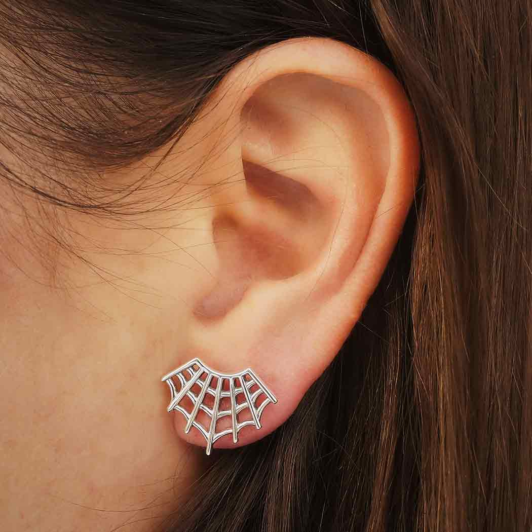 Sterling Silver Spider Web Post Earrings 14x17mm