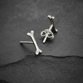 Sterling Silver Bone Post Earrings 3x10mm